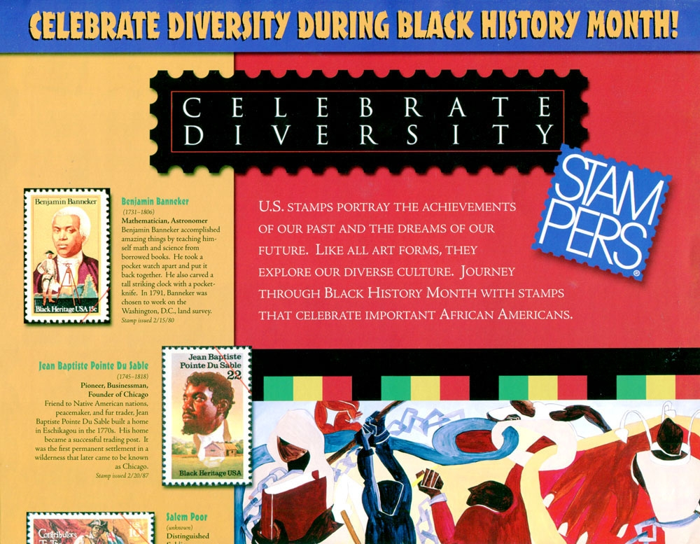 Celebrate Diversity. Seven illustrations introducing the Harris Stamp.