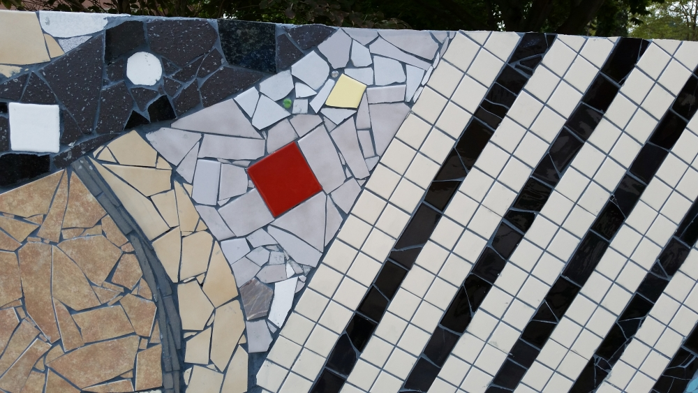 Mosaic, Central Connecticut State University. Detail of the South wall. A collaboration with students and community members.