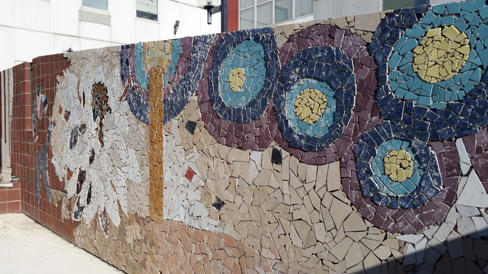 """Mosaic, Central Connecticut State University. """"Starry Night,"""" the North section of the wall, inspired by Vincent van Gogh's painting of the same name."""