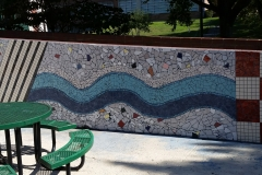 "Mosaic, Central Connecticut State University. ""River Walk,"" detail of the South wall. The community donated materials and worked on the walls."