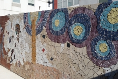"Mosaic, Central Connecticut State University. ""Starry Night,"" the North section of the wall, inspired by Vincent van Gogh's painting of the same name."